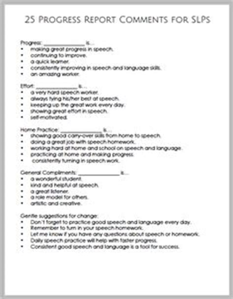 Speech Therapy Progress Report Template by Effective Report Card Comments Bell Bytes
