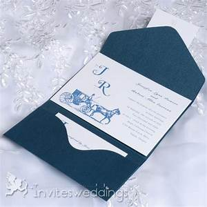 cheap vintage carriage blue pocket wedding invitations With wedding invitations with pockets cheap