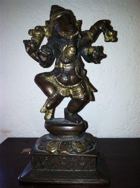 C & K BIG MOVING SALE: Bronzed Finish Brass Dancing Ganesh
