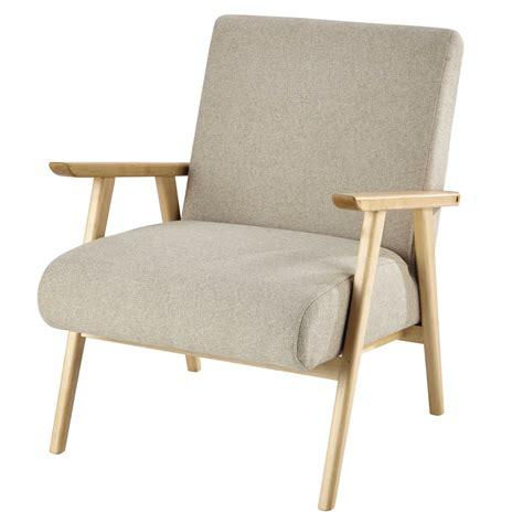 fauteuil en tissu beige benson maisons du monde