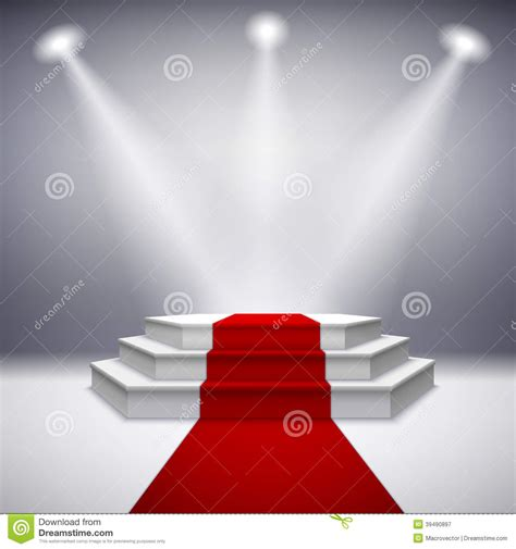 clipart photo illuminated stage podium with carpet stock vector
