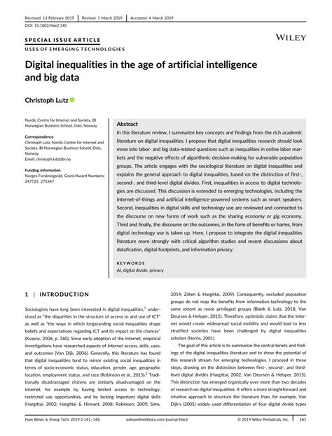 (PDF) Digital Inequalities in the Age of Artificial
