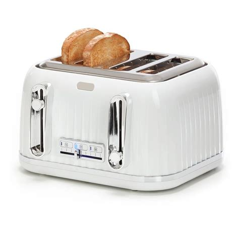 Bread Toaster by Home White 4 Slice Bread Toaster W Electric Browning