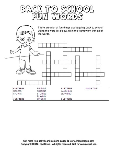 back to school fun framework puzzle printable colouring sheets