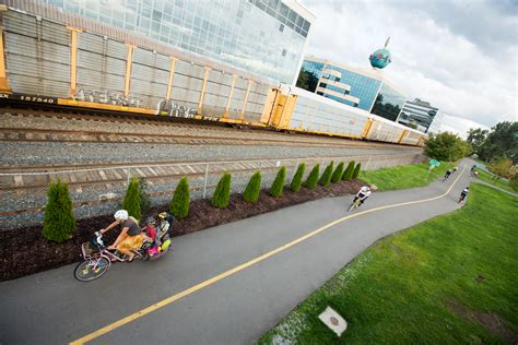 Seattle bike blog also has a pretty clear map of the greenway. File:Rail-and-trail paved path seattle longtail cargo bike family.jpg - Wikimedia Commons