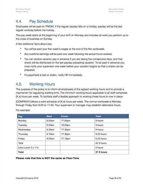 handbook template employee handbook template cyberuse