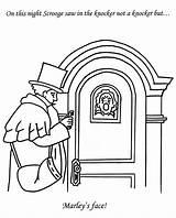 Coloring Christmas Carol Pages Doorknocker Knocker Template P3 sketch template