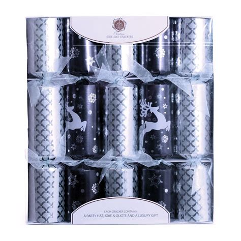 28 best black and silver christmas crackers 6 luxury