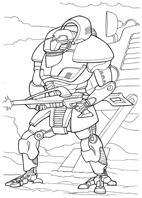 coloring page cyborg attack