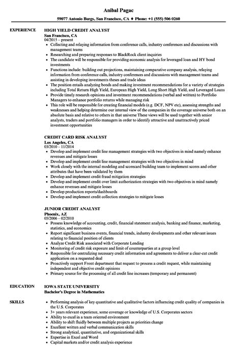 Senior Credit Analyst Resume by Credit Analyst Analyst Resume Sles Velvet