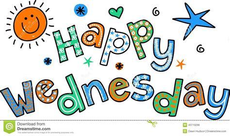 Happy Wednesday Cartoon Text Clipart Stock Illustration
