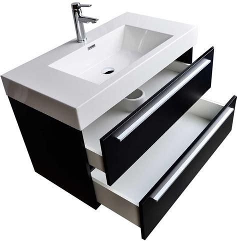 Wall Mount Contemporary Bathroom Vanity Black Tn T1000 Bk
