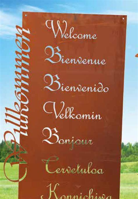 Gartendeko Willkommen by Gedichttafel Willkommen In Vielen Sprachen Aus Edelrost