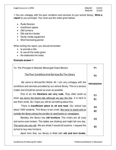sample complaint letter spm contoh