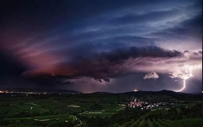 Clouds Storm Lightning Landscape Sky Sunset Field
