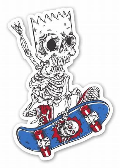 Sticker Skate Bart Stickers Skateboarding Template Stickerapp