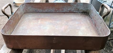 huge leon jaeggi  sons heavy copper roasting pan ace reclamation