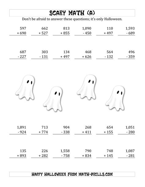 scary addition  subtraction  triple digit numbers
