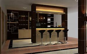 Smaller kitchen home design with little bar desk for Kitchen with mini bar design