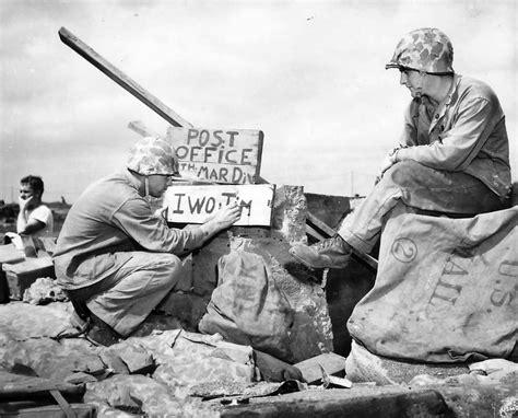 Marines Open Makeshift Post Office On Iwo Jima