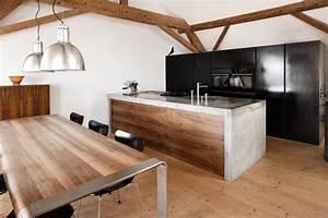 Küche Beton Arbeitsplatte : mit holz kombiniert wirkt beton in der k che besonders edel k chen pinterest k che ~ Frokenaadalensverden.com Haus und Dekorationen
