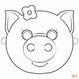 Pig Mask Coloring Pages Face Printable Supercoloring Template Templates Animal Masks Paper Drawing Dot Sketch sketch template