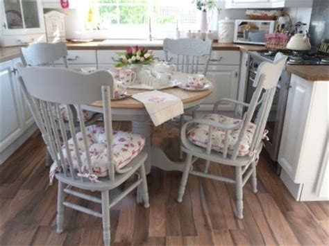shabby chic dining chair cushions beautiful shabby chic cottage style table and 4 chairs with brand new seat pads ebay