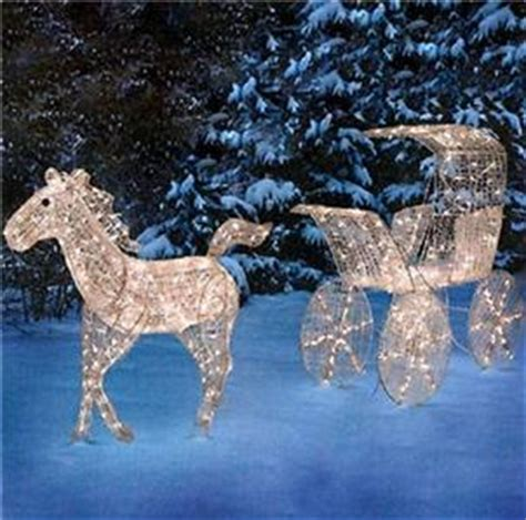 outdoor lighted horse carriage display scene christmas