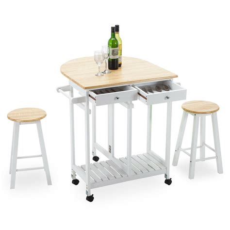 Portable Breakfast Bar Table Kitchen Cart Island Stools by Rolling Kitchen Island Trolley Cart Storage Dinning Table