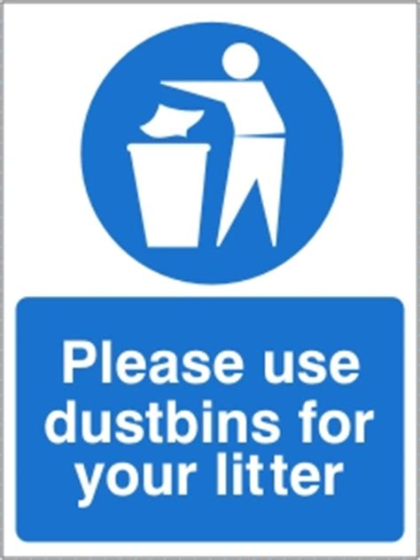 dustbins   litter health  safety sign