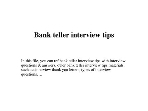 Bank Teller Questions And Answers Exles by Bank Teller Tips