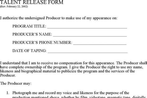 free talent release form download talent release form for free tidytemplates