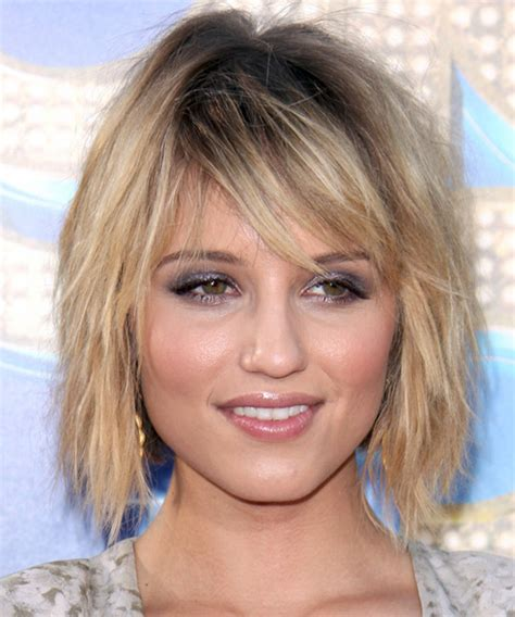 dianna agron casual medium straight hairstyle  side