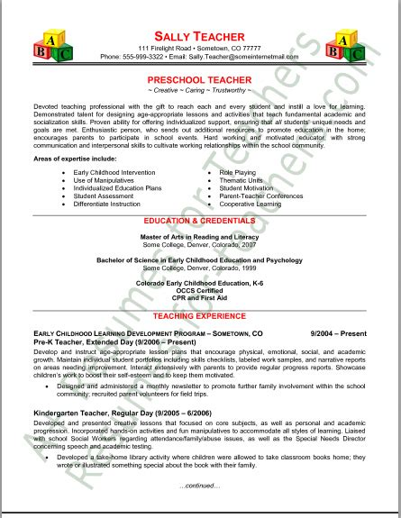 kindergarten resume summary preschool resume tips and sles