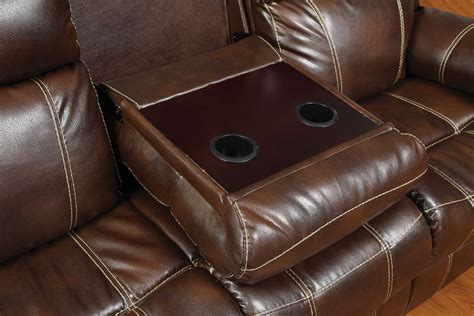 Loveseat Console by Myleene Collection 603021 Brown Leather Reclining Sofa