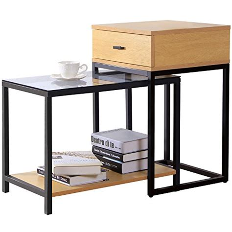 table bout de canapé en verre lifewit ensemble de table d 39 appoint moderne à 2 pièces