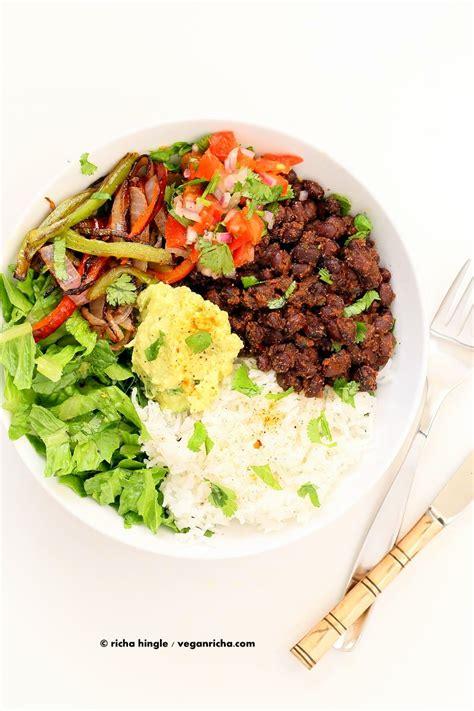 easy black bean burrito bowl vegan richa