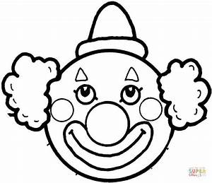 Clown's Face coloring page | Free Printable Coloring Pages