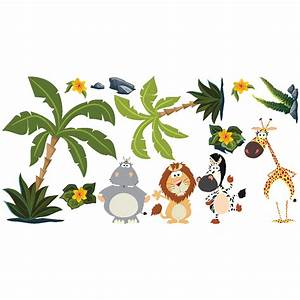 Stickers Animaux De La Jungle : sticker animaux dans la jungle stickers nature arbres ambiance sticker ~ Mglfilm.com Idées de Décoration