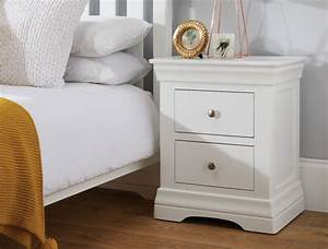 Toulouse, White, Painted, 2, Drawer, Bedside, Table