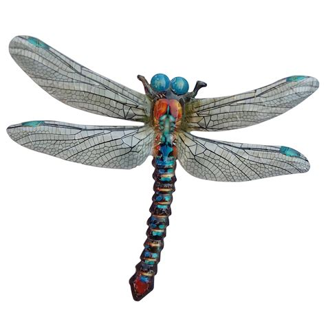 primus large metal dragonfly garden wall art ornament blue