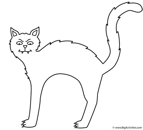 black cat coloring page halloween