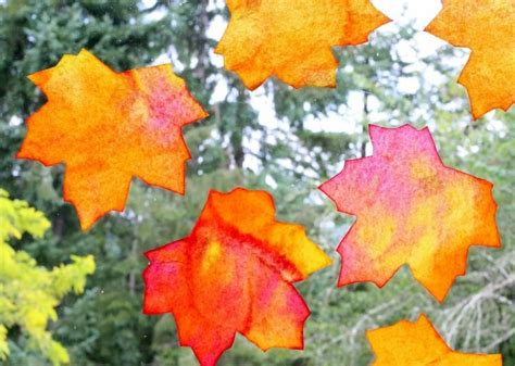 Fensterdeko Herbst Kindergarten by Fensterdeko Herbst Kinder Basteln Blaetter Aquarell Papier