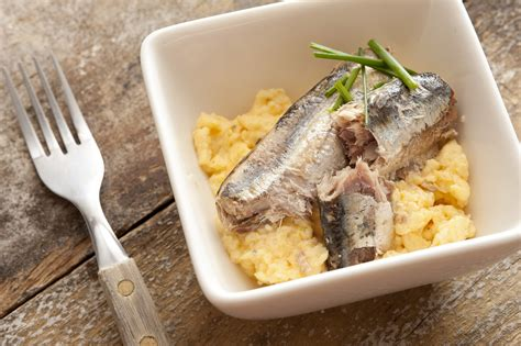 sardine cuisine sardines with chives and scrambled eggs free stock image