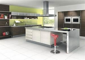 cuisine design blanche verte et bois With cuisine verte et blanche