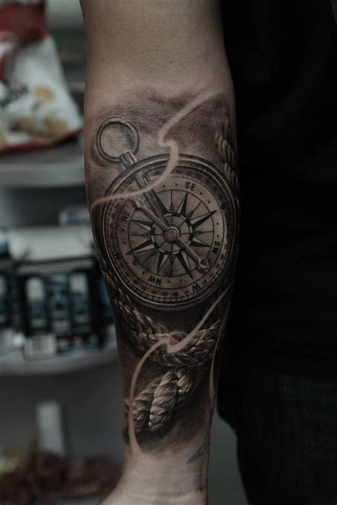 awesome compass tattoo designs sleeve tattoos