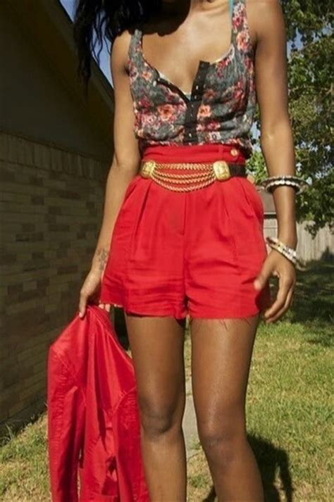 Shorts belt red high waisted shorts high waisted floral tank top tank top floral blazer ...