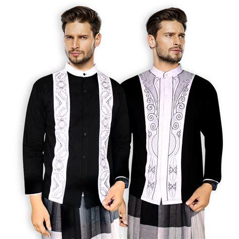 baju koko motif etnik lengan panjang baju muslim pria