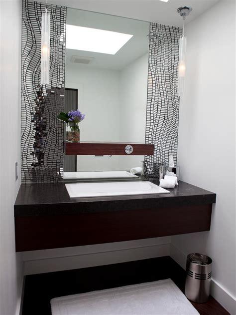 contemporary bathroom vanity  silver mosaic tile wall