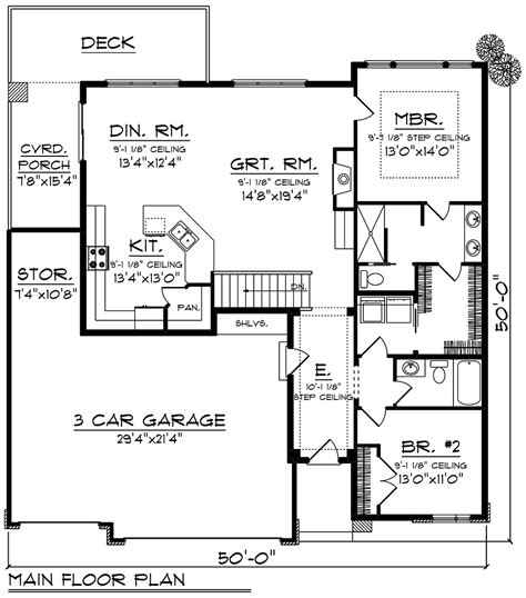 Ranch Style House Plan 75448 with 2 Bed 2 Bath 3 Car